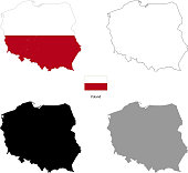 Poland country black silhouette and with flag on background, isolated on white