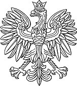 Poland eagle, polish national coat of arm, detailed vector illustration.