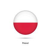 Poland flag - round glossy button. Vector Illustration.