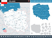 Poland infographic map and flag - vector illustration