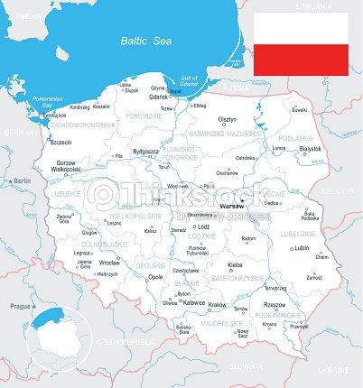Poland Map And Flag Illustration Vector Art   Thinkstock