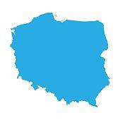 Poland map on blue background, Vector Illustration