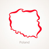 Outline map of Poland marked with red line.