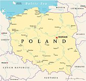 Poland Political Map with capital Warsaw, national borders, most important cities, rivers and lakes. English labeling and scaling. Illustration.