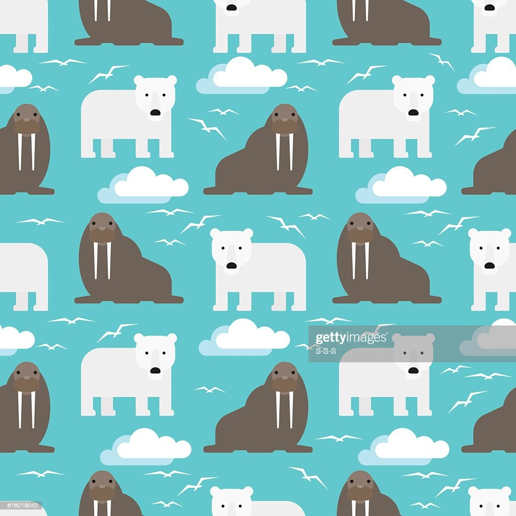 Polar Bear and Walrus Seamless Pattern : Clipart vectoriel