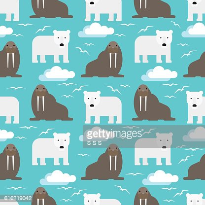 Polar Bear and Walrus Seamless Pattern : Vektorgrafik
