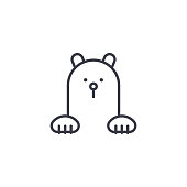 polar bear vector line icon, sign, illustration on white background, editable strokes