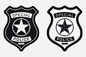 Police Badge Simple Monochrome Sign. Vector illustration Isolated on White Background