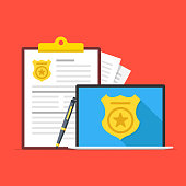 Police database. Laptop with police badge on screen, pen and clipboard with police report. Flat design. Vector illustration