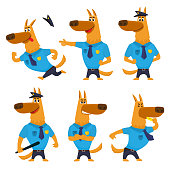 Set of funny shepherd dog character in police uniform, running, standing, blowing a whistle, cartoon vector illustration isolated on white background. Police dog character in different positions