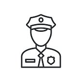 Police Icon vector. Policeman Officer avatar illustration
