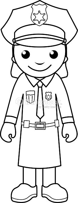 Police Officer Coloring Page For Kids Vector Art | Thinkstock
