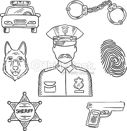 Police Officer Or Policeman Profession Sketch Icon stock