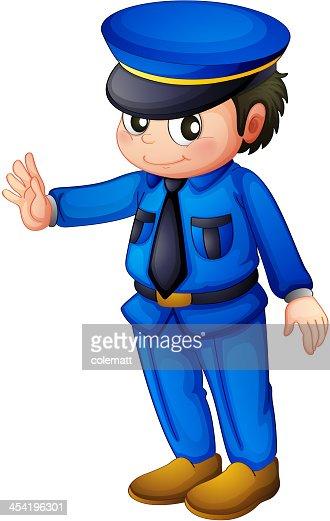 Polícia com uma azul informar : Arte vetorial