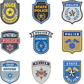 Police shield. Government agent badges and police department officer security vector symbols. Badge of cop or detective officer illustration
