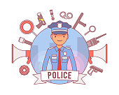 Policeman and weapons poster. Young member of a police force in uniform, equipment, body armor, gear for duty patrol, enforcement accessories. Law and justice concept. Vector line art illustration