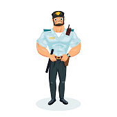Policeman working cartoon character person in working situations. Policeman, in working clothes, in form, with equipment: baton, pistol, handcuffs, walkie-talkie. Vector illustration.