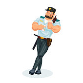 Policeman working cartoon character person in working situations. Policeman, in working clothes, in form, lunch break, food, eating donut with dessert, drinking hot coffee drink. Vector illustration.