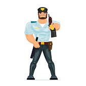 Policeman working cartoon character person in working situations. Policeman, in working clothes, in form, shows his badge of police officer, certifying personality and profession. Vector illustration.