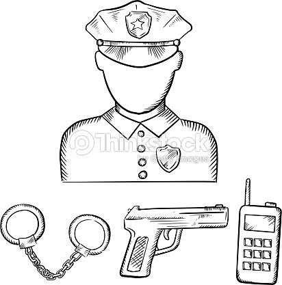 Policeman With Handcuffs And Gun Sketches Vector Art