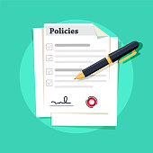 Policies document. Policies regulation concept list document company clipboard, vector illustration. Ink pen lying on a contract or application form, top angle of view