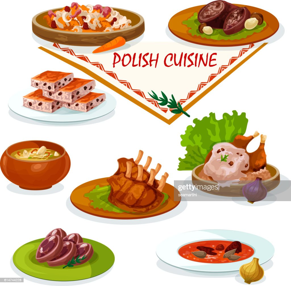 Polish cuisine savory dishes icon for menu design