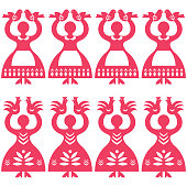 Vector monochrome folk repetitive design from the region of Kolbiel in Poland with women holding birds