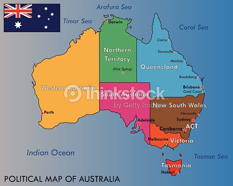 Political Map Of Australia Vector Art Thinkstock - Political map of australia