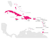Political map of Carribean. Pink highlighted states and dependent territories. Simple flat vector illustration.