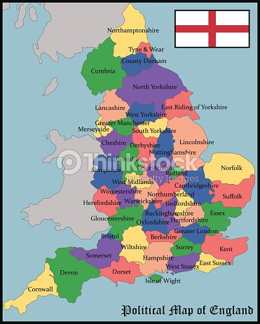 Political Map Of England Vector Art Thinkstock - Map of england