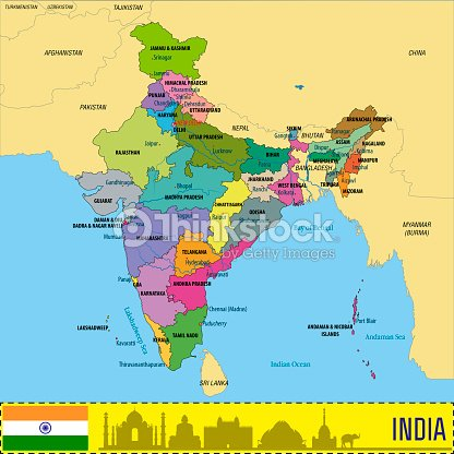 Political Map Of India With All States stock vector | Thinkstock