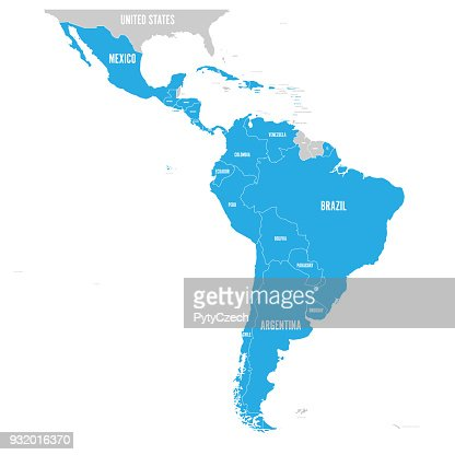 Political map of Latin America. Latin american states blue highlighted in the map of South America, Central America and Caribbean. Vector illustration : stock vector