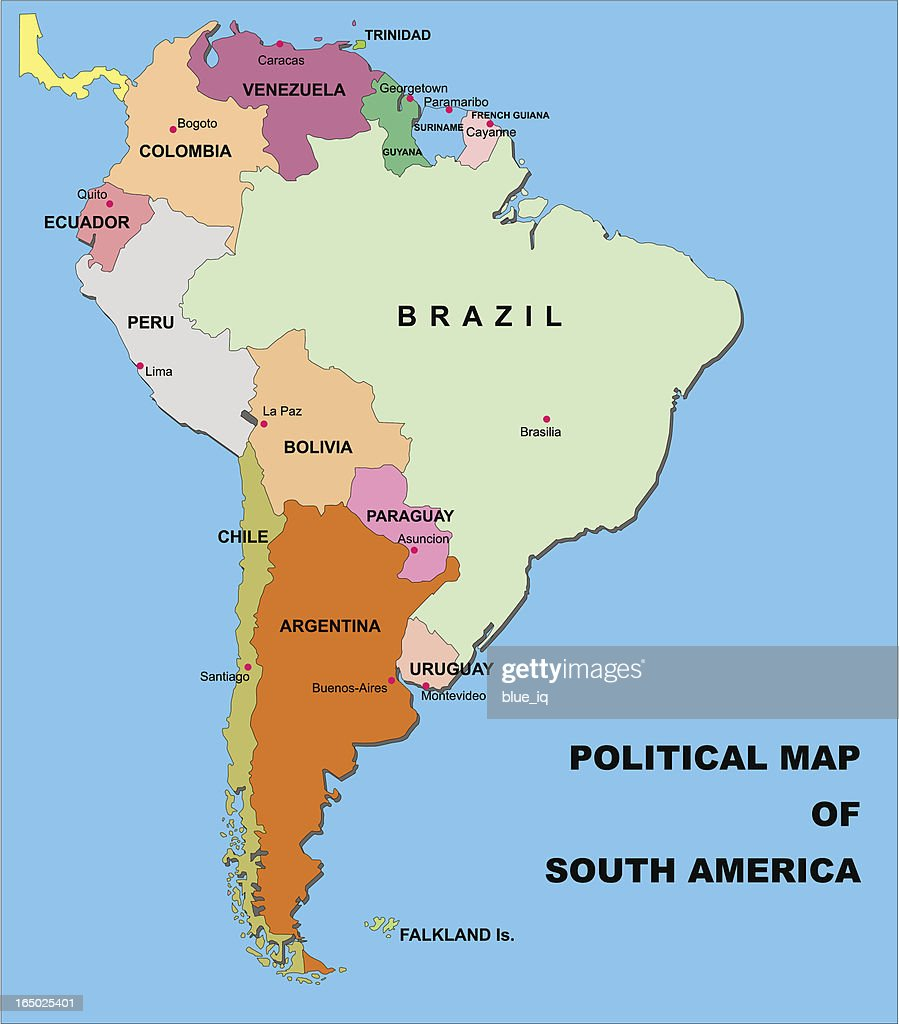 Political Map Of South America In Vector Format Vector Art Getty - Political map of chile