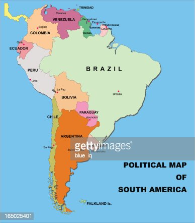 Political Map Of South America In Vector Format Vector Art Getty - Map of south america