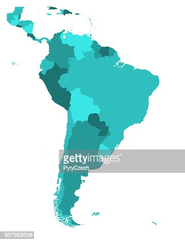 Political map of South America. Simple flat blank vector map in four shades of turquoise blue : stock vector