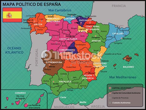Map Of Spain Political.Political Map Of Spain With Flag And Badge Stock Vector Thinkstock