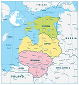 Political Map of the Baltic States. Vector illustration.