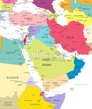 Political Map Of The Middle East And Asia Vector Art | Thinkstock