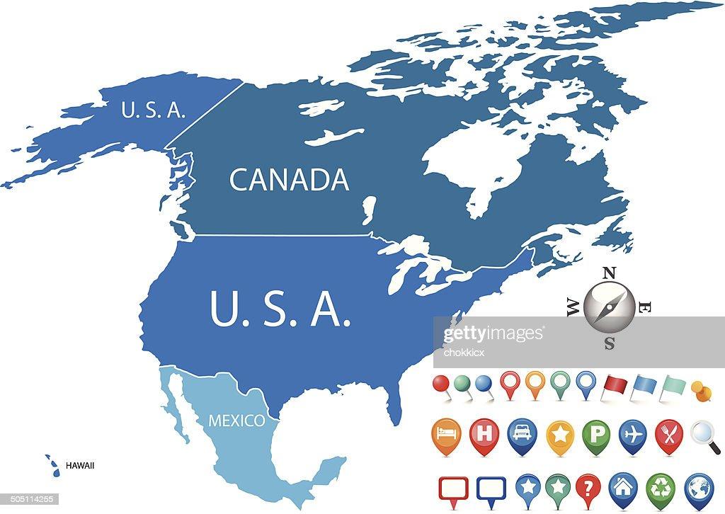 North america map gps