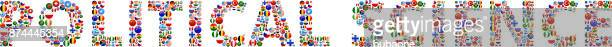 Political Science World Flags Vector Buttons.