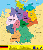 Political vector map of Germany with regions and their capitals. All layers detachabel and labeled.