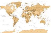 Political Vintage Golden World Map Vector illustration