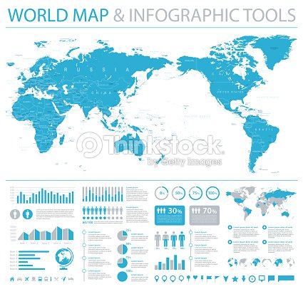 Political World Map Pacific Centered Info Graphic Vector Art