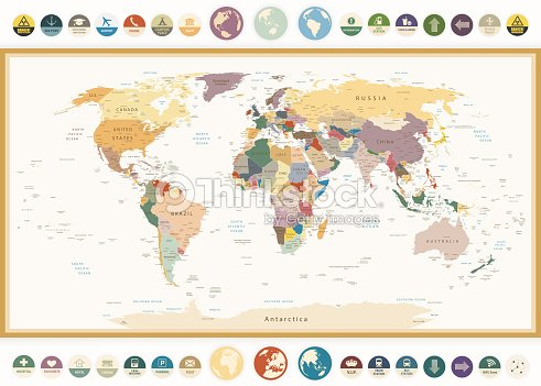 Political world map with flat icons and globesvintage colors vector political world map with flat icons and globesntage colors vector art gumiabroncs Images