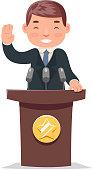 Politician tribune performance character businessman cartoon design vector illustration