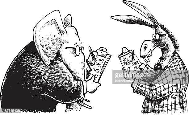 Politik-Republikanische Elephant & Demokrat Esel befragen