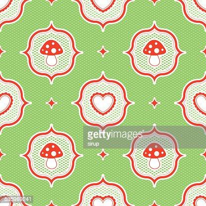 polka dot pattern with fly agaric mushroom and heart seamless : Vector Art