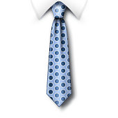 Polka dots tie and white collar with soft shadow on a white background. Template for Fathers Day greeting card with blue polka dots necktie. Realistic vector illustration