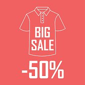 Icon of a contour of a T-shirt on a red background with an inscription the big sale and twenty percent of a discount.