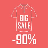 Banner of a contour of a T-shirt on a red background with an inscription the big sale and twenty percent of a discount.